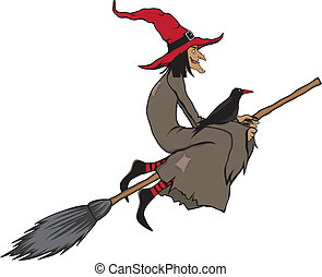 halloween witch - 	halloween witch flying on a broomstick