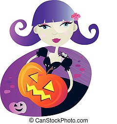 Halloween witch girl II - Halloween witch girl with pumpkin...