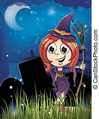 Halloween witch girl in the cemetery