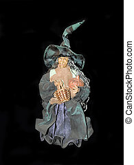 Halloween witch. - Halloween witch with basket and pumpkin. ...