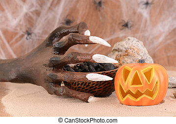 Halloween witch hand close up
