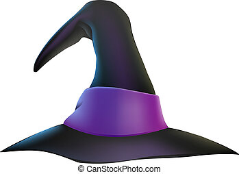 Halloween Witch Hat - An illustration of a cartoon witch's...