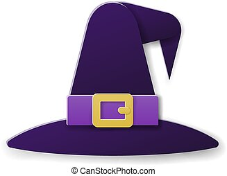 Halloween Witch Hat in Paper Craft Style