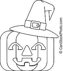 Halloween Witch Hat Pumpkin in Outline