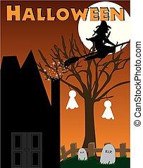 Halloween witch, haunted house scene