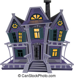 Halloween witch house - Halloween witch magic house isolated...