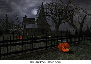 Witches cottage with pumpkin lanterns for Halloween, 3d digitally rendered illustration