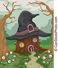 Halloween Witch House Woods