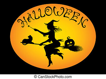 halloween witch on broom