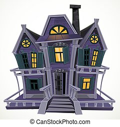 Halloween witch magic house isolated in white