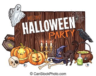 Halloween witch monster vector party sketch poster -...