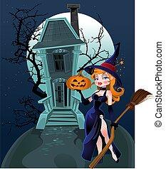 Halloween witch near magic house