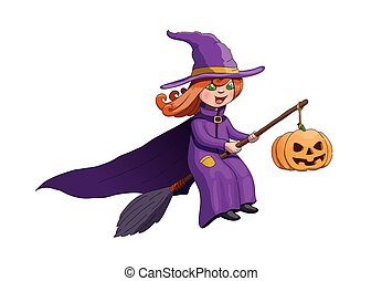 Halloween Witch on Broom With Pumpkin