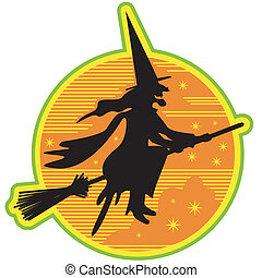 Halloween Witch On Broomstick Retro
