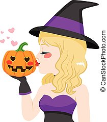 Halloween Witch Pumpkin Love