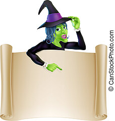 Halloween Witch Scroll - An illustration of a cartoon witch...