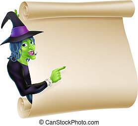 Halloween Witch Scroll - An illustration of a Halloween...