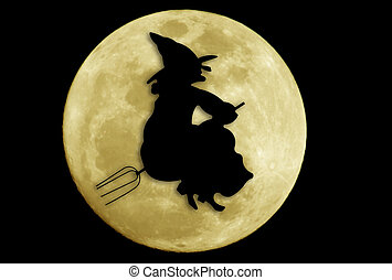 Flying Witch Silhouette Against a Full Moon