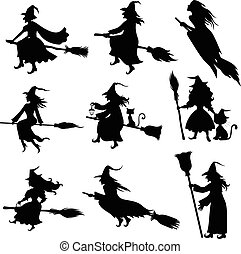 Halloween witch silhouette set