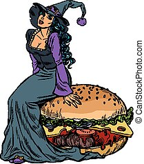 Halloween witch sitting on a Burger. Festive menu in the restaurant