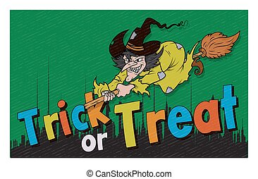 Halloween Witch Skyline Background