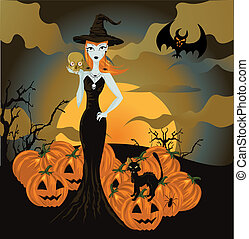 Halloween witch standing with skull and pumpkin
