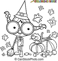 Halloween witch sweeping pumpkin leaves. Black and white coloring book page
