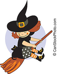 halloween witch with black cat jn full moon