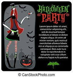 halloween, witch., vettore, template., halloween, serie