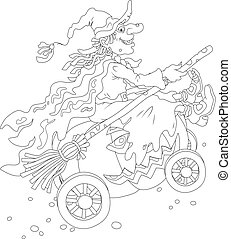 Black and white illustration of a sorceress in black with a broom riding on her big pumpkin