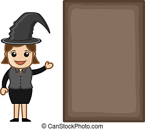 Halloween Witch with Blank Banner