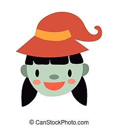 halloween witch with hat flat style icon