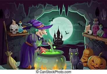 Halloween witch with potion and cauldron