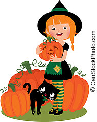 Halloween witch with pumpkins