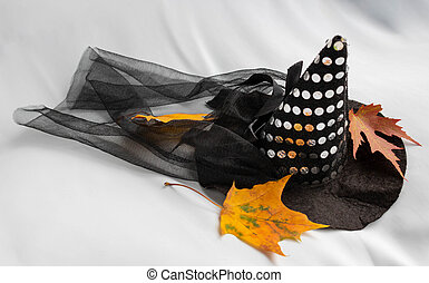 Halloween Witch wizard's hat isolated on white background with clipping path