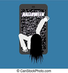 Halloween Witch zombie from smartphone. Zombie girl comes out of phone gadget. Interference Glitch phone