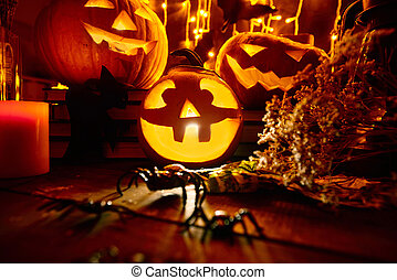 Halloween witchcraft - Jack-o-lanterns and other traditional...