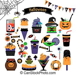 Halloween witchcraft sweets flat icons - Halloween...