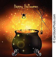 Halloween witches cauldron