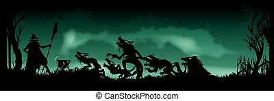 illustration of a witches ritual. Witch is summoning beasts creatures in the heart of forest. Black silhouettes on the green background with mist and smoke. For greetings, posters, flyers, postcards, or invitations to the party with copy space. Vector graphic.