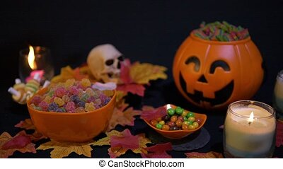 Halloween with candy footage on black background