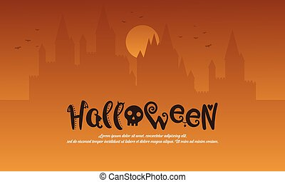 Halloween with castle style background