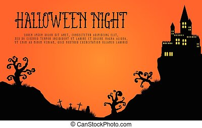 Halloween with haunted castle landscape