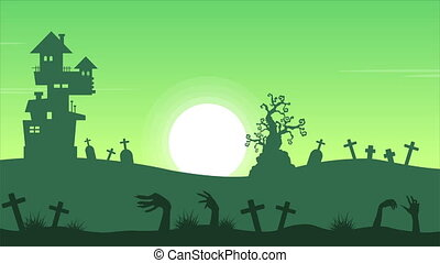 Halloween with house scary landscape animation