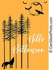 Halloween with howling wolf and bats, vector