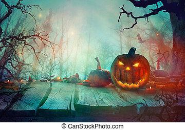 Halloween  with Pumpkin and Dark Forest. Scary Halloween Design