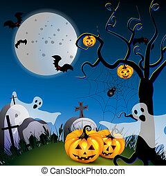 Halloween with pumpkin ,ghost
