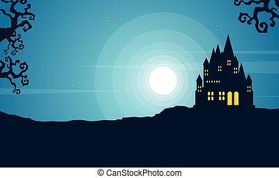 Halloween with scary castle landscape