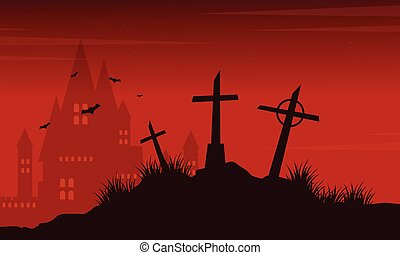 Halloween with scary graveyard collection