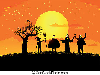 Halloween with silhouettes of child
